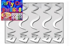 21st silver swirl decoration 60cm pkt 5