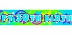 30th foil bright colour banner 3.65mtr x 12cm