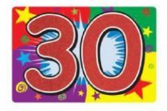 30th number glitter cardboard 25cm x 38cm