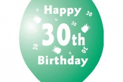 printed 30th birthday assorted colours