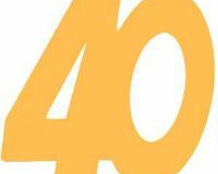40th gold cardboard cutout large and small
