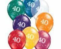 40th print latex balloon multi coloured