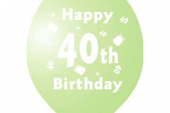 printed 40th birthday assorted colours