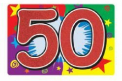 50th glitter number sign 25cm x 38cm