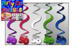 50th multi colour hanging siwrls 60cm pkt 5