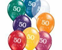 50th print multi colour latex balloons