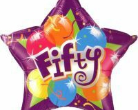50th star shape foil balloon 45cm