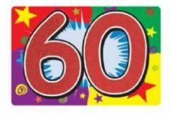 60th glitter carboard sign 25cm x 38cm