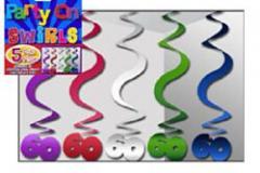 60th hanging swirls multi coloured 60cm pkt 5