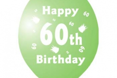 printed 60th birthday assorted colours