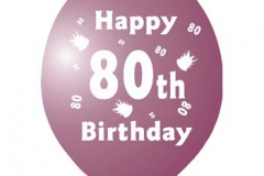 printed 80th birthday assorted colours