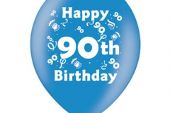printed 90th birthday assorted colours
