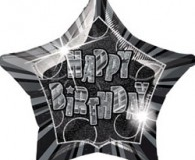 Black glitx star shape 45cm foil balloon m55141