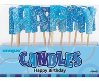 Blue glitz happy birthday candles