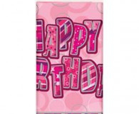 Pink glitz happy birthday plastic tablecloth