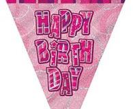 Pink glitz pennant banner