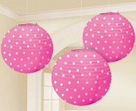Pink and white polka dots lanterns