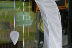 5 meter white bali flags and poles for hire