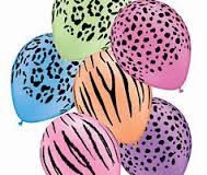 Safari assortment coloured balloons