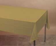 Gold rectangle plastic tablecloth