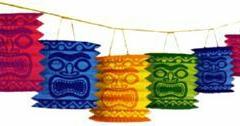 Garland Lantern Tiki Island (3.7m Long, Each Lantern 100mm Diameter x 150mm High) - Each