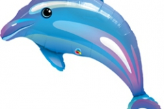 Shape Delightful Dolphin (105cm) Foil Balloon (Self sealing balloon, requires helium inflation) - Each