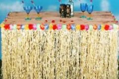 Table Skirt Artificial Grass - Flowered (75cm Drop x 2.7 Metres Long) - Each