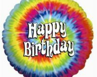 45cm Birthday Tie-Dyed Foil Balloon (Self sealing balloon, Requires helium inflation) - Each