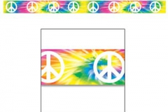 Party Tape Peace Sign (7.5cm x 6.1m) All Weather Poly Material - Each