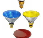 Coloured floodlight bulbs