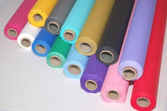 Assorted coloured plastic tablecloth rolls