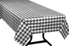 Black and white check rectangle tablecloth