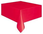 Red rectangle coloured tableclothjpg