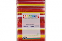 Red yellow toned rectangle tablecloth